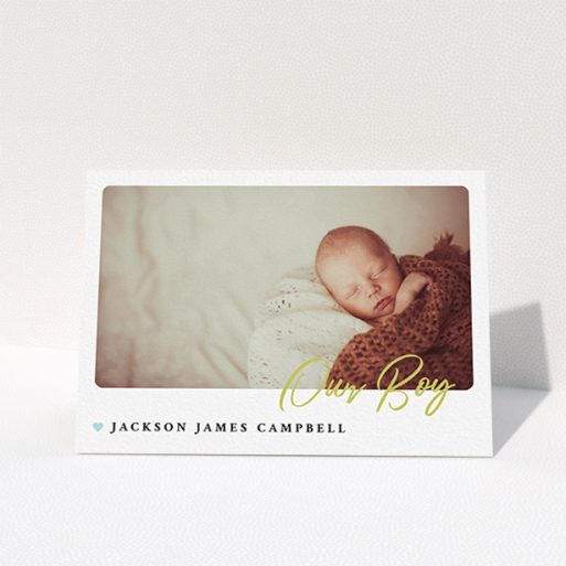 """A baby thank you card called """"Gold Stamp"""". It is an A6 card in a landscape orientation. It is a photographic baby thank you card with room for 1 photo. """"Gold Stamp"""" is available as a folded card, with tones of white and blue."""