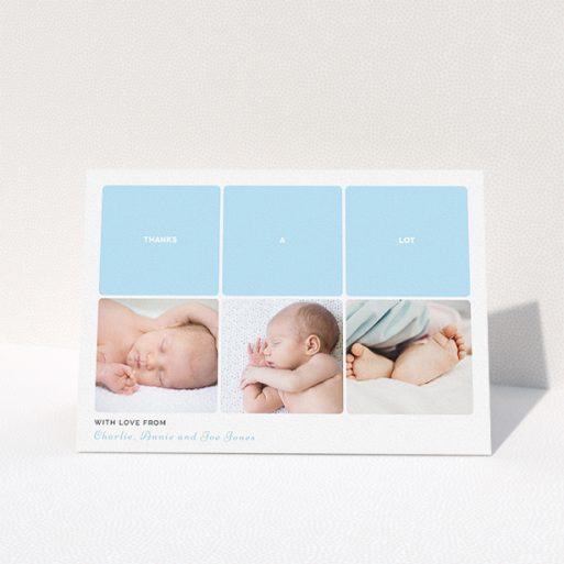 """A baby thank you card design called """"Our Little One"""". It is an A5 card in a landscape orientation. It is a photographic baby thank you card with room for 3 photos. """"Our Little One"""" is available as a folded card, with tones of blue and white."""