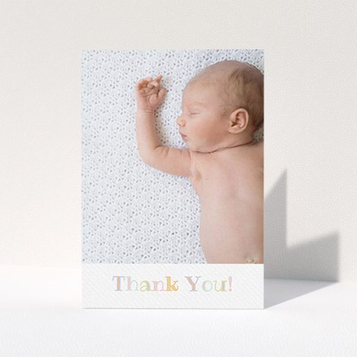 """A baby thank you card template titled """"Pastel Thank You"""". It is an A6 card in a portrait orientation. It is a photographic baby thank you card with room for 1 photo. """"Pastel Thank You"""" is available as a folded card, with tones of white and green."""