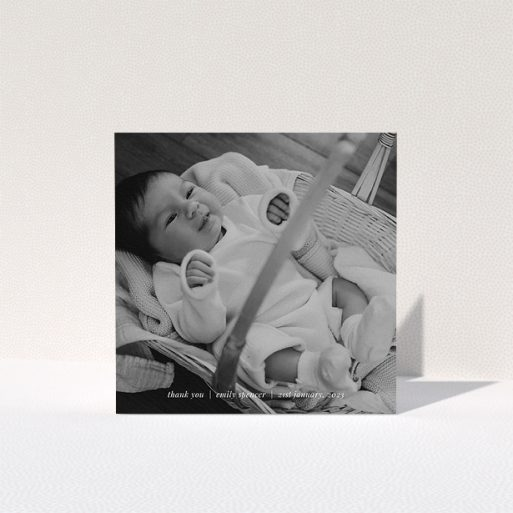 """A baby thank you card called """"Simple Wedding Thanks"""". It is a square (148mm x 148mm) card in a square orientation. It is a photographic baby thank you card with room for 1 photo. """"Simple Wedding Thanks"""" is available as a folded card, with mainly white colouring."""