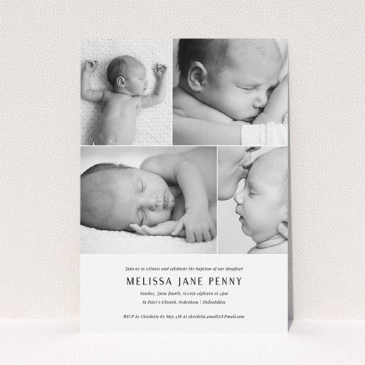 """A baptism invitation template titled """"All on top"""". It is an A5 invite card in a portrait orientation. It is a photographic baptism invitation with room for 4 photos. """"All on top"""" is available as a flat invite card, with mainly white colouring."""