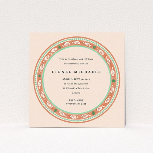 """A baptism invitation named """"Amalfi"""". It is a square (148mm x 148mm) invite card in a square orientation. """"Amalfi"""" is available as a flat invite card, with tones of pink and orange."""