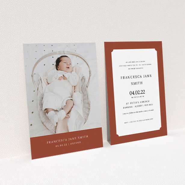 """A baptism invitation design named """"Autumnal Photo"""". It is an A5 invite card in a portrait orientation. It is a photographic baptism invitation with room for 1 photo. """"Autumnal Photo"""" is available as a flat invite card, with mainly dark orange colouring."""
