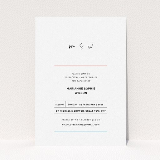 """A baptism invitation design named """"Blue and Pink"""". It is an A5 invite card in a portrait orientation. """"Blue and Pink"""" is available as a flat invite card, with tones of white and blue."""