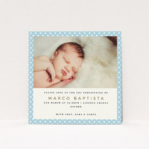 """A baptism invitation named """"Blue Polkadots"""". It is a square (148mm x 148mm) invite card in a square orientation. It is a photographic baptism invitation with room for 1 photo. """"Blue Polkadots"""" is available as a flat invite card, with tones of blue and white."""