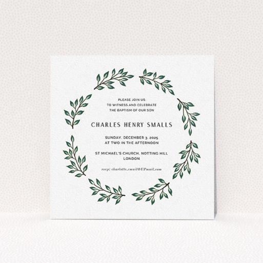 """A baptism invitation design titled """"Bold Wreath"""". It is a square (148mm x 148mm) invite card in a square orientation. """"Bold Wreath"""" is available as a flat invite card, with tones of green and white."""