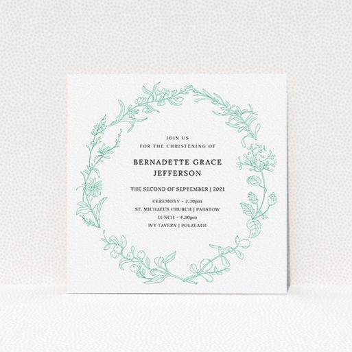 """A baptism invitation design titled """"Botanicals"""". It is a square (148mm x 148mm) invite card in a square orientation. """"Botanicals"""" is available as a flat invite card, with tones of green and white."""