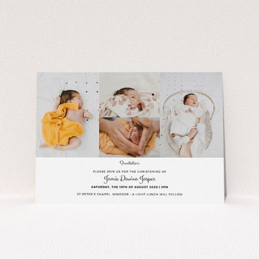 """A baptism invitation called """"Cheek by Jowl"""". It is an A5 invite card in a landscape orientation. It is a photographic baptism invitation with room for 4 photos. """"Cheek by Jowl"""" is available as a flat invite card, with mainly white colouring."""