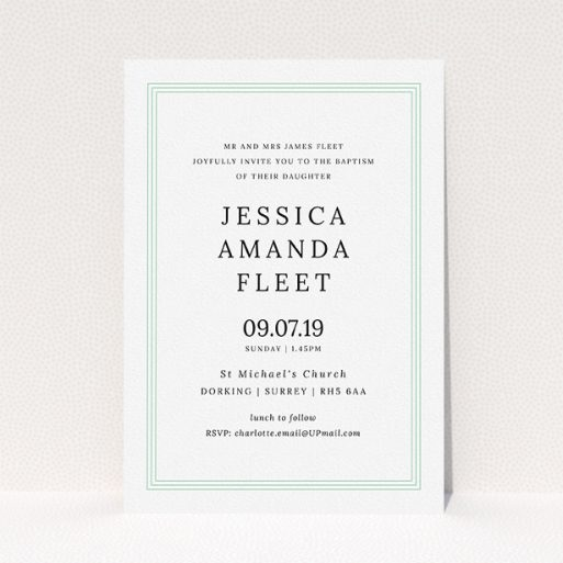 """A baptism invitation called """"Classic Border"""". It is an A5 invite card in a portrait orientation. """"Classic Border"""" is available as a flat invite card, with tones of blue and white."""