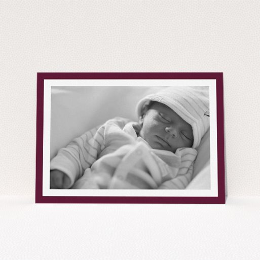 """A baptism invitation named """"Classic Burgundy Photo Frame"""". It is an A5 invite card in a landscape orientation. It is a photographic baptism invitation with room for 1 photo. """"Classic Burgundy Photo Frame"""" is available as a flat invite card, with tones of burgundy and white."""