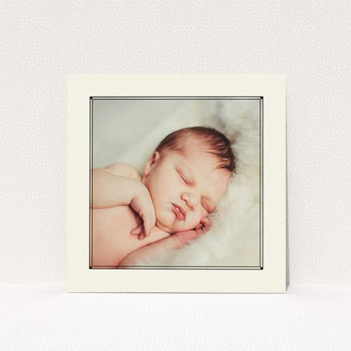 """A baptism invitation design titled """"Deco Cream Frame"""". It is a square (148mm x 148mm) invite card in a square orientation. It is a photographic baptism invitation with room for 1 photo. """"Deco Cream Frame"""" is available as a flat invite card, with mainly cream colouring."""