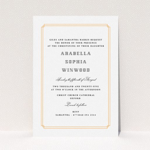 """A baptism invitation design named """"Deco Portrait"""". It is an A5 invite card in a portrait orientation. """"Deco Portrait"""" is available as a flat invite card, with tones of orange and white."""
