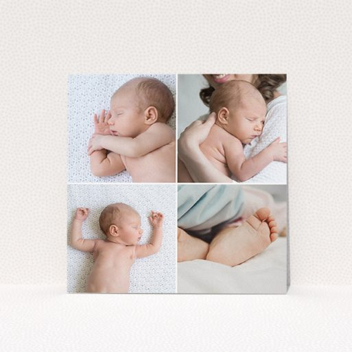 """A baptism invitation template titled """"Four Squares Divided"""". It is a square (148mm x 148mm) invite card in a square orientation. It is a photographic baptism invitation with room for 4 photos. """"Four Squares Divided"""" is available as a flat invite card, with mainly white colouring."""