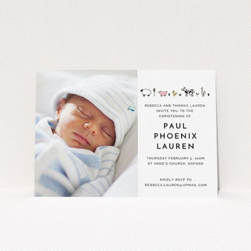 """A baptism invitation design named """"From the Farmyard"""". It is an A6 invite card in a landscape orientation. It is a photographic baptism invitation with room for 1 photo. """"From the Farmyard"""" is available as a flat invite card, with tones of white and pink."""