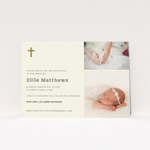 """A baptism invitation design named """"Gold Cross"""". It is an A6 invite card in a landscape orientation. It is a photographic baptism invitation with room for 2 photos. """"Gold Cross"""" is available as a flat invite card, with tones of cream and gold."""