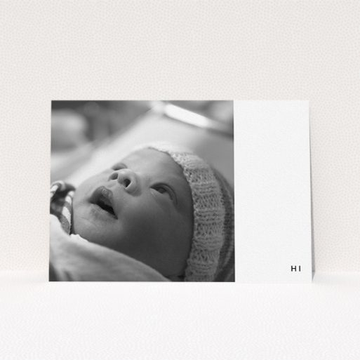 """A baptism invitation named """"Hi"""". It is an A5 invite card in a landscape orientation. It is a photographic baptism invitation with room for 1 photo. """"Hi"""" is available as a flat invite card, with mainly white colouring."""