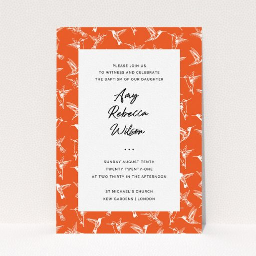 """A baptism invitation design titled """"Hummingbirds"""". It is an A5 invite card in a portrait orientation. """"Hummingbirds"""" is available as a flat invite card, with tones of red and white."""