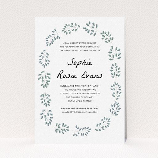 """A baptism invitation named """"Leaf Wreath"""". It is an A5 invite card in a portrait orientation. """"Leaf Wreath"""" is available as a flat invite card, with tones of green and white."""