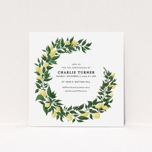 """A baptism invitation named """"Lemon Wreath"""". It is a square (148mm x 148mm) invite card in a square orientation. """"Lemon Wreath"""" is available as a flat invite card, with tones of green and yellow."""