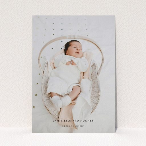 """A baptism invitation design named """"Maddox Street"""". It is an A5 invite card in a portrait orientation. It is a photographic baptism invitation with room for 1 photo. """"Maddox Street"""" is available as a flat invite card."""