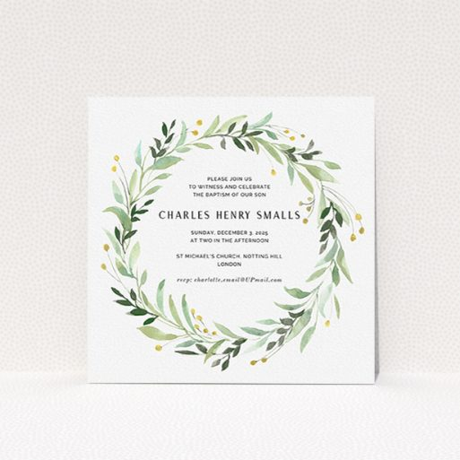"""A baptism invitation template titled """"Marine Wreath"""". It is a square (148mm x 148mm) invite card in a square orientation. """"Marine Wreath"""" is available as a flat invite card, with tones of ice blue, light green and yellow."""
