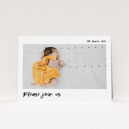 """A baptism invitation design titled """"Marker Invite"""". It is an A5 invite card in a landscape orientation. It is a photographic baptism invitation with room for 1 photo. """"Marker Invite"""" is available as a flat invite card, with mainly white colouring."""