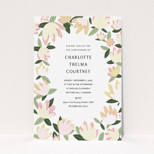 """A baptism invitation template titled """"Modern Florals"""". It is an A5 invite card in a portrait orientation. """"Modern Florals"""" is available as a flat invite card, with tones of cream, yellow and light green."""