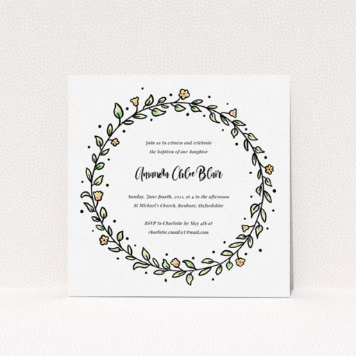 """A baptism invitation design called """"Modern Watercolours"""". It is a square (148mm x 148mm) invite card in a square orientation. """"Modern Watercolours"""" is available as a flat invite card, with tones of light green and orange."""