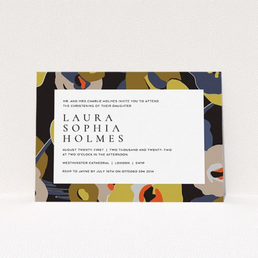 """A baptism invitation design titled """"Night-time Botanica"""". It is an A5 invite card in a landscape orientation. """"Night-time Botanica"""" is available as a flat invite card, with tones of black, dark gold and orange."""