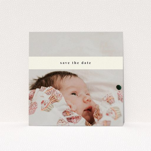 """A baptism invitation template titled """"Our new bundle of joy"""". It is a square (148mm x 148mm) invite card in a square orientation. It is a photographic baptism invitation with room for 1 photo. """"Our new bundle of joy"""" is available as a flat invite card, with mainly cream colouring."""