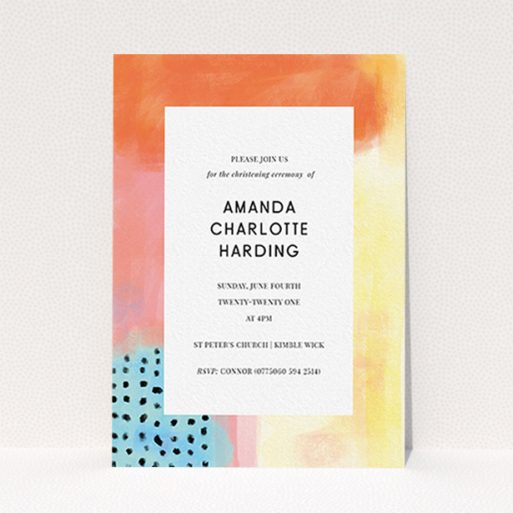 """A baptism invitation called """"Pastel Abstract"""". It is an A6 invite card in a portrait orientation. """"Pastel Abstract"""" is available as a flat invite card, with tones of orange, red and yellow."""