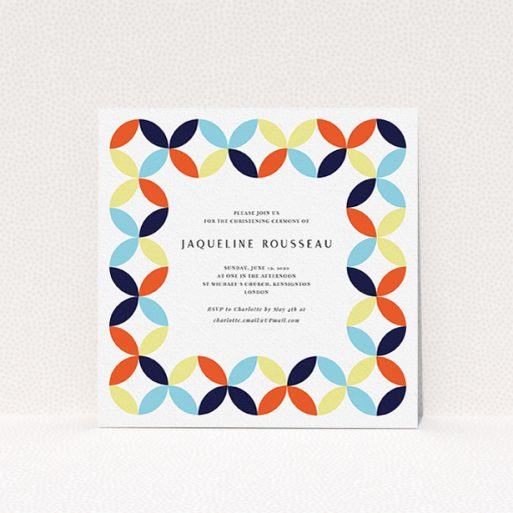 """A baptism invitation called """"Pastel Circus"""". It is a square (148mm x 148mm) invite card in a square orientation. """"Pastel Circus"""" is available as a flat invite card, with mainly light blue colouring."""
