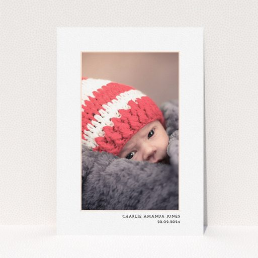 """A baptism invitation called """"Photo Centre"""". It is an A5 invite card in a portrait orientation. It is a photographic baptism invitation with room for 1 photo. """"Photo Centre"""" is available as a flat invite card, with mainly white colouring."""