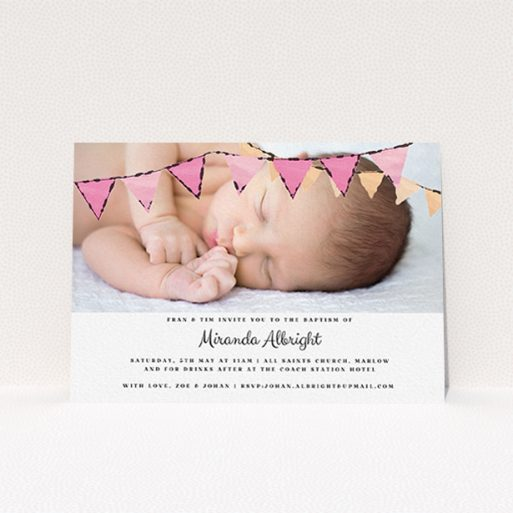 """A baptism invitation template titled """"Pink Bunting"""". It is an A6 invite card in a landscape orientation. It is a photographic baptism invitation with room for 1 photo. """"Pink Bunting"""" is available as a flat invite card, with tones of pink and white."""
