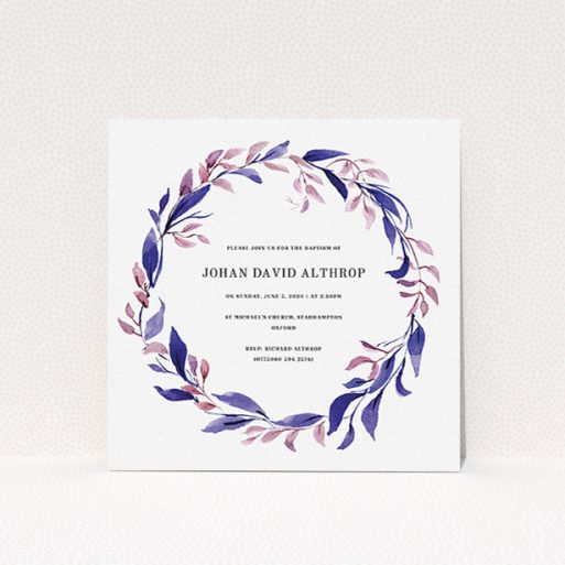 """A baptism invitation design titled """"Purple Wreath"""". It is a square (148mm x 148mm) invite card in a square orientation. """"Purple Wreath"""" is available as a flat invite card, with mainly purple/dark pink colouring."""