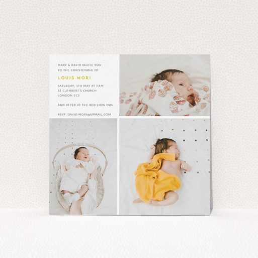 """A baptism invitation design titled """"Quarters"""". It is a square (148mm x 148mm) invite card in a square orientation. It is a photographic baptism invitation with room for 3 photos. """"Quarters"""" is available as a flat invite card, with tones of white and yellow."""