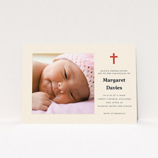 """A baptism invitation design titled """"Red and Cream"""". It is an A6 invite card in a landscape orientation. It is a photographic baptism invitation with room for 1 photo. """"Red and Cream"""" is available as a flat invite card, with tones of red and cream."""