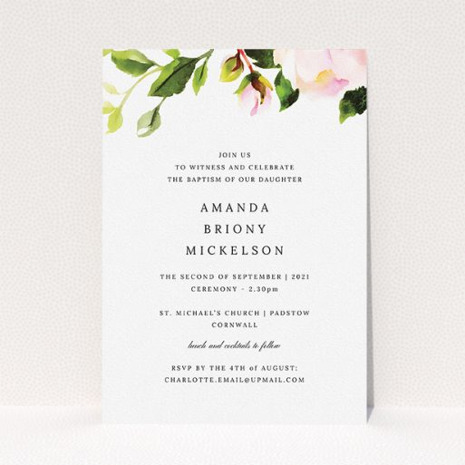 """A baptism invitation named """"Rose Ceiling"""". It is an A5 invite card in a portrait orientation. """"Rose Ceiling"""" is available as a flat invite card, with tones of pink and green."""