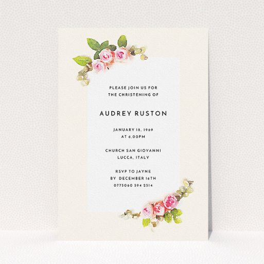 """A baptism invitation design titled """"Rose Corners"""". It is an A5 invite card in a portrait orientation. """"Rose Corners"""" is available as a flat invite card, with tones of light pink and green."""