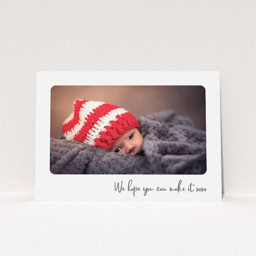 """A baptism invitation design named """"Rounded Landscape Photo"""". It is an A5 invite card in a landscape orientation. It is a photographic baptism invitation with room for 1 photo. """"Rounded Landscape Photo"""" is available as a flat invite card, with mainly white colouring."""