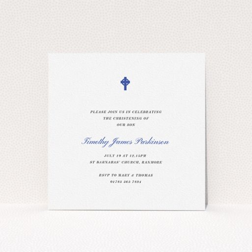 """A baptism invitation template titled """"Royal Blue Cross"""". It is a square (148mm x 148mm) invite card in a square orientation. """"Royal Blue Cross"""" is available as a flat invite card, with tones of white and blue."""