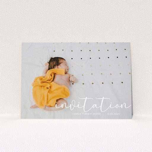"""A baptism invitation called """"Salamanca"""". It is an A5 invite card in a landscape orientation. It is a photographic baptism invitation with room for 1 photo. """"Salamanca"""" is available as a flat invite card, with mainly white colouring."""