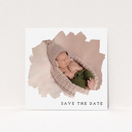 """A baptism invitation design titled """"Scruffy Frame"""". It is a square (148mm x 148mm) invite card in a square orientation. It is a photographic baptism invitation with room for 1 photo. """"Scruffy Frame"""" is available as a flat invite card, with mainly white colouring."""