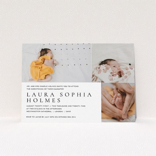 """A baptism invitation design called """"Serif"""". It is an A5 invite card in a landscape orientation. It is a photographic baptism invitation with room for 3 photos. """"Serif"""" is available as a flat invite card, with mainly white colouring."""