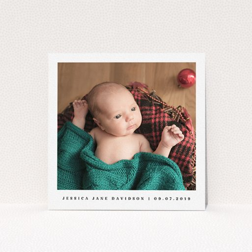 """A baptism invitation design named """"Single Classic Photo"""". It is a square (148mm x 148mm) invite card in a square orientation. It is a photographic baptism invitation with room for 1 photo. """"Single Classic Photo"""" is available as a flat invite card, with mainly white colouring."""