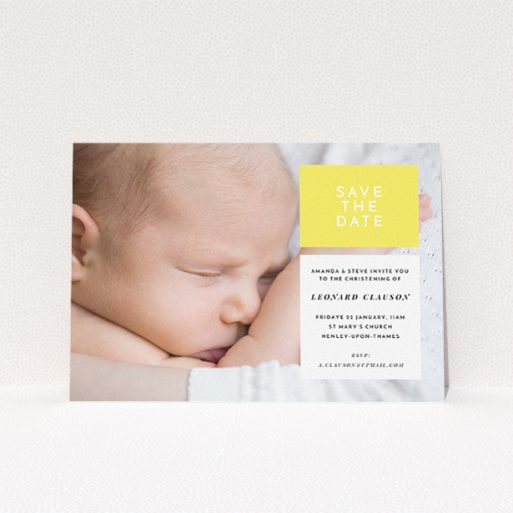 """A baptism invitation template titled """"Two Frames"""". It is an A5 invite card in a landscape orientation. It is a photographic baptism invitation with room for 1 photo. """"Two Frames"""" is available as a flat invite card, with tones of yellow and white."""