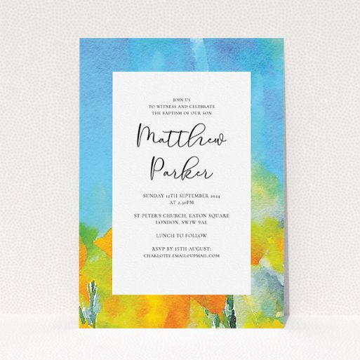 """A baptism invitation named """"Up-close and Sunny"""". It is an A5 invite card in a portrait orientation. """"Up-close and Sunny"""" is available as a flat invite card, with tones of blue, yellow and orange."""