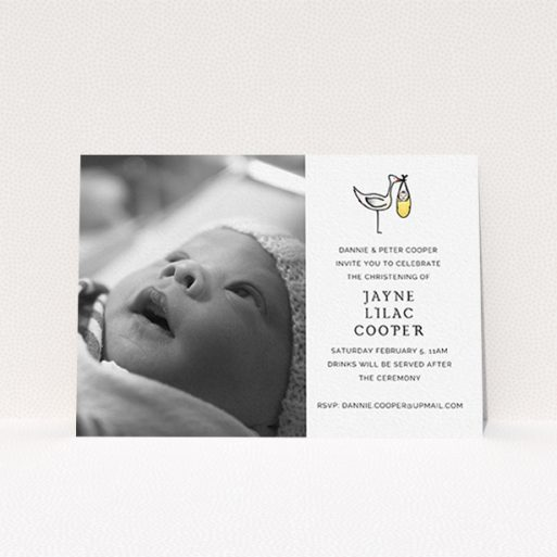 """A baptism invitation called """"Watercolour Stork"""". It is an A6 invite card in a landscape orientation. It is a photographic baptism invitation with room for 1 photo. """"Watercolour Stork"""" is available as a flat invite card, with tones of white and yellow."""