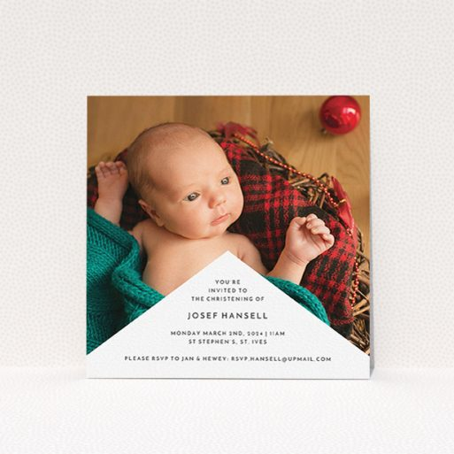 """A baptism invitation design named """"Wedge Frame"""". It is a square (148mm x 148mm) invite card in a square orientation. It is a photographic baptism invitation with room for 1 photo. """"Wedge Frame"""" is available as a flat invite card, with mainly white colouring."""