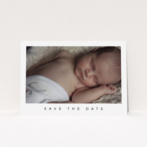 """A baptism invitation template titled """"Welcome to the World"""". It is an A5 invite card in a landscape orientation. It is a photographic baptism invitation with room for 1 photo. """"Welcome to the World"""" is available as a flat invite card, with mainly white colouring."""
